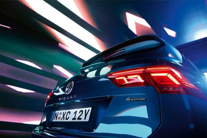 Close up of rear LED lights on Volkswagen Tiguan.