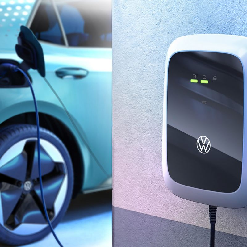 ID. Charger Wallbox charging an electric car