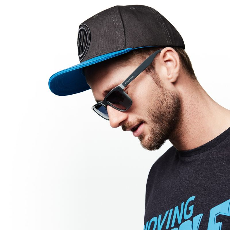 A man wears products from the Volkswagen Collection