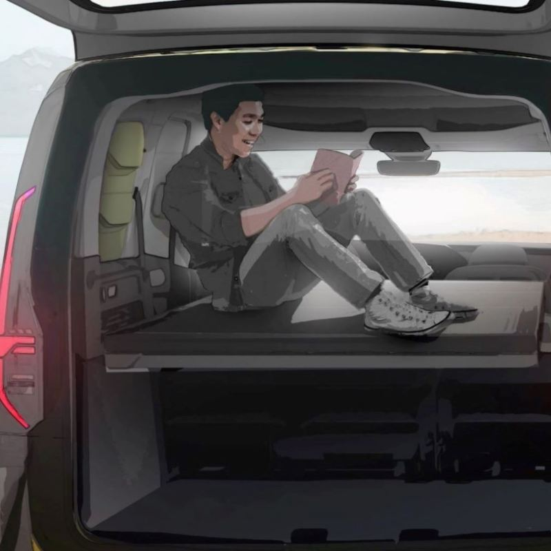 Wizualizacja wnętrza nowego mini-kampera Caddy
