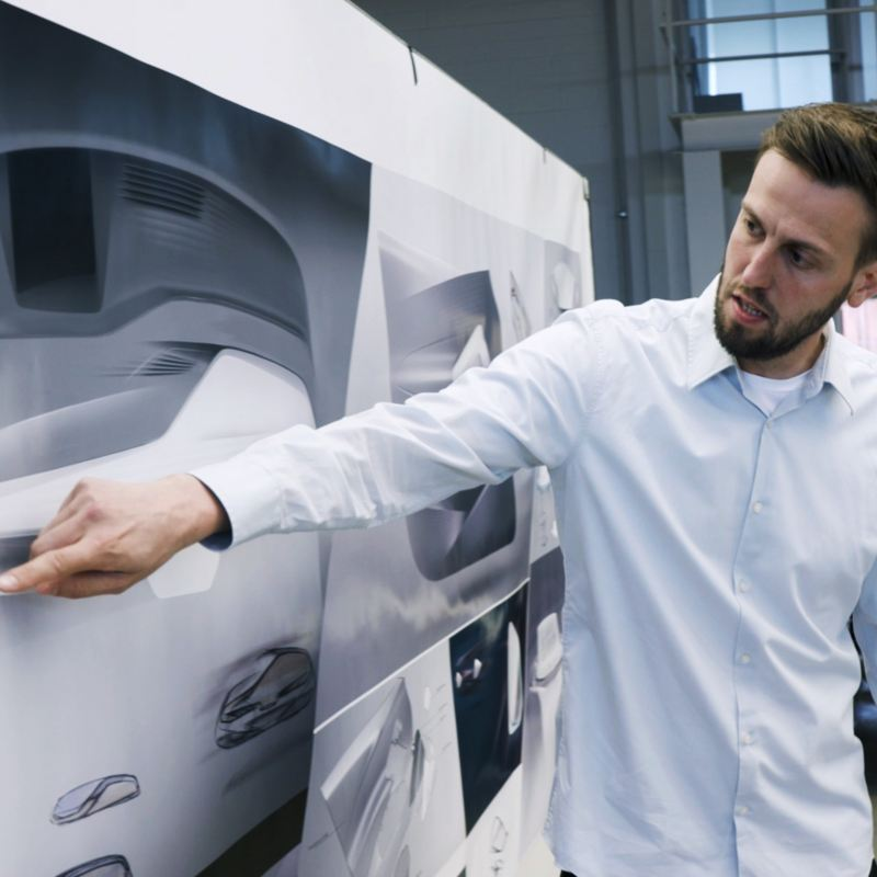 Gebel com desenhos do design interior do VW ID.3