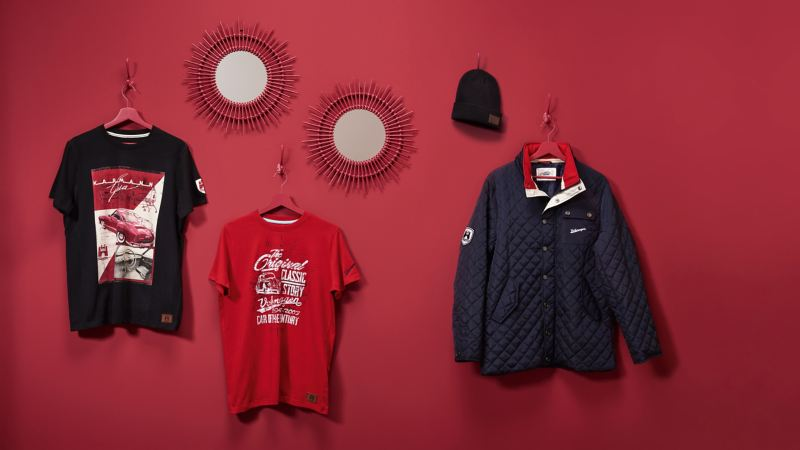 A selection of products from the VW Classic Collection in shades of red