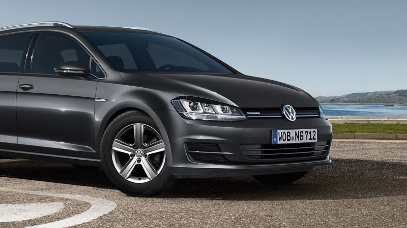 A grey VW Golf TGI Variant BlueMotion with natural gas