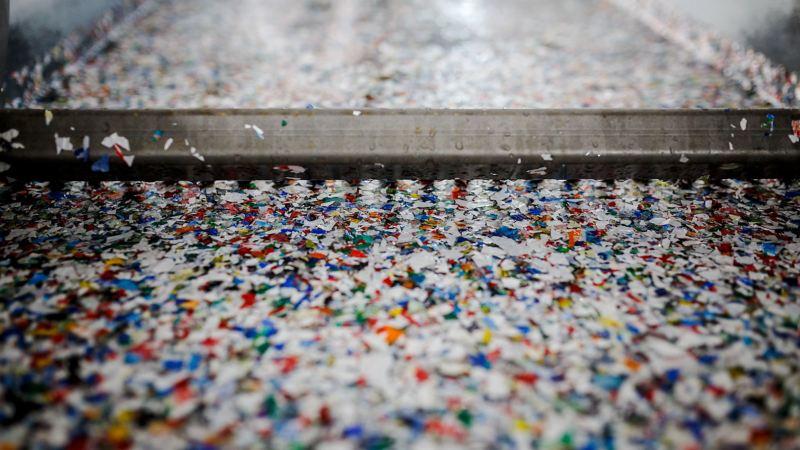 VW shredder residues on an assembly line