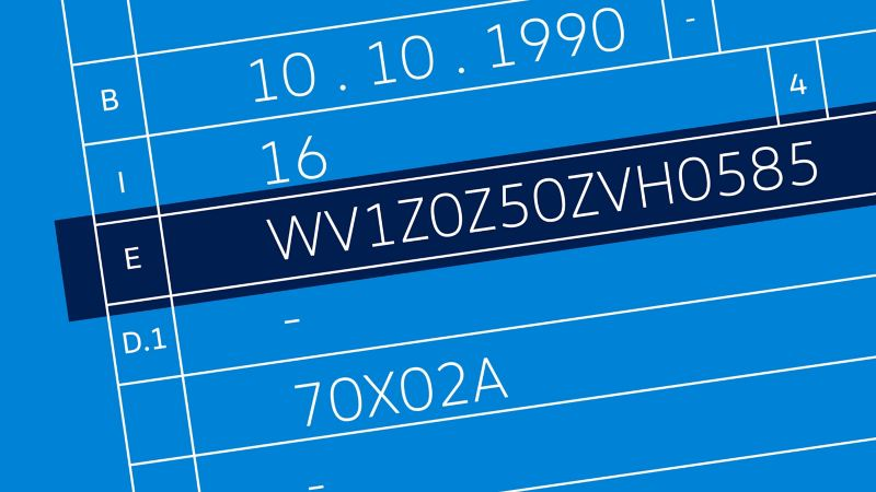 Visualisering av Volkswagen VW VIN nummer i vognkortet