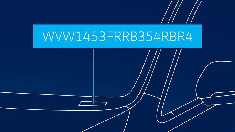 Visualisering av stedet på frontruten hvor VIN nummeret er plassert på en Volkswagen VW