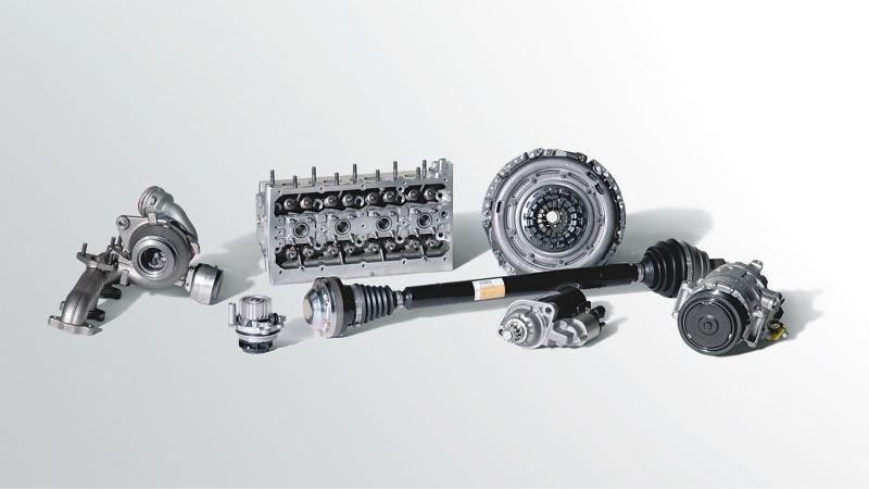原廠零件的情境示意圖,圖上有7個引擎零件放在白色空間裡