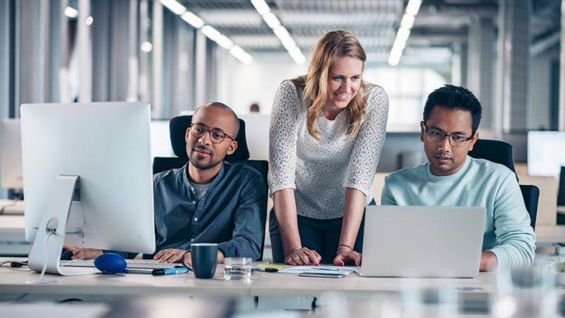 Mitarbeiter arbeiten gemeinsam an Computern