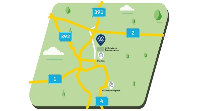 Stilisierte Navigationskarte