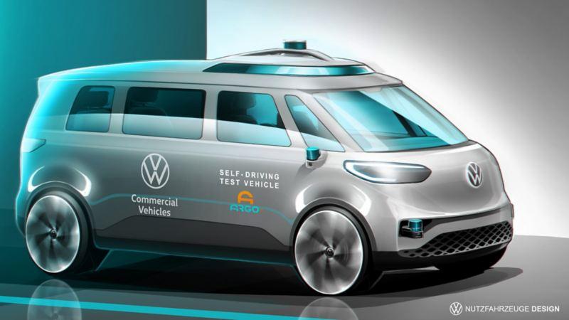 Vista laterale di un modellino di ID. Buzz Volkswagen, il primo van completamente elettrico.