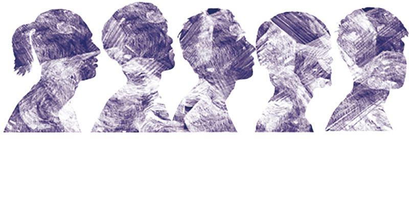 大改樂團的示意圖,由成員的側面排成一排以靛色拓印方式呈現