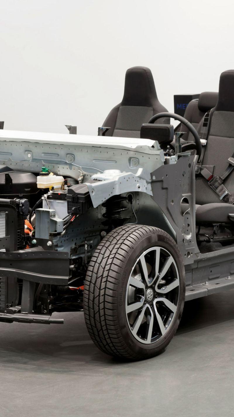 Vista de Plataforma MEB, esqueleto de autos eléctricos Volkswagen