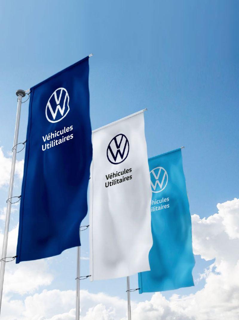 drapeaux avec logo volkswagen véhicules utilitaire concessionnaire le plus proche