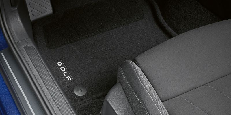 Interior of a VW Golf with floor mats – Volkswagen Accessories