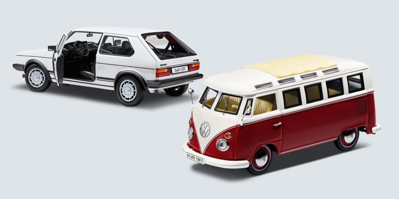 Model cars from Volkswagen Accessories: The Golf 1 GTI and the T1 camper van