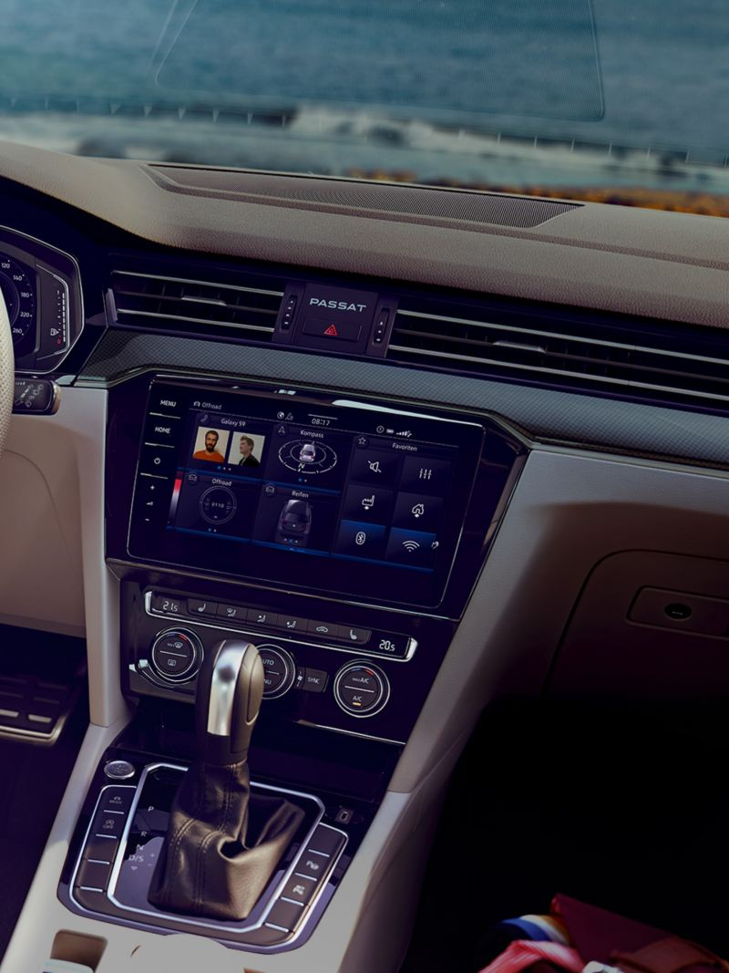 Different infotainment and navigation systems inside of a VW car – modern equipment