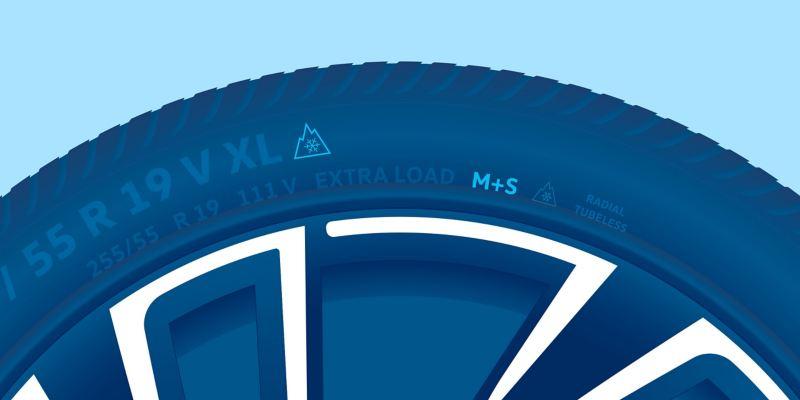 Illustration d'un pneu hiver VW avec le symbole du flocon de neige et le marquage M+S