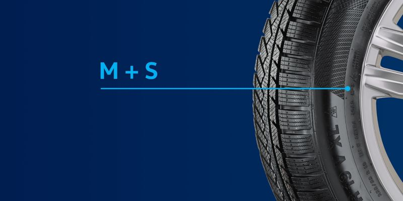 Illustration of a VW winter tyre with the M+S labelling