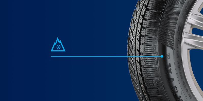 Illustration of a VW winter tyre with the snowflake symbol