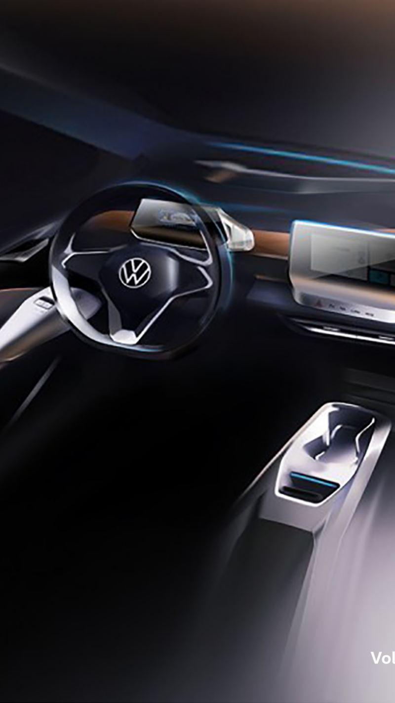 Illustrazione sul design interno di Volkswagen ID.3
