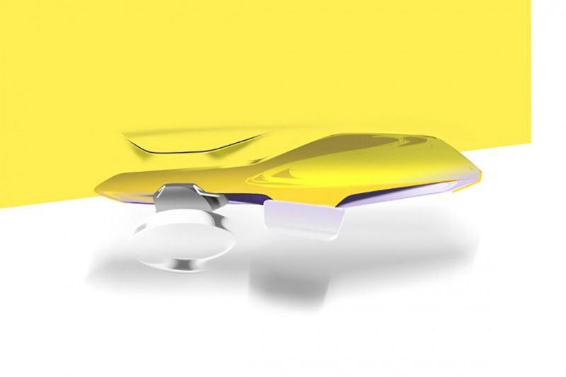 Illustrazione del modellino di design rappresentante la forma del cruscotto di Volkswagen ID.3
