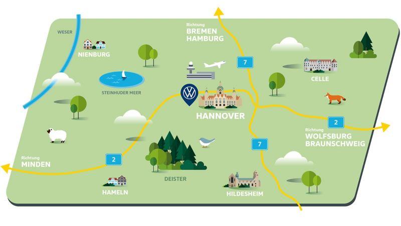 Karte der Region um Hannover und das Werk von Volkswagen Nutzfahrzeuge