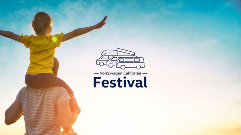affiche california festival lacanau un homme et sa fille sur les épaules