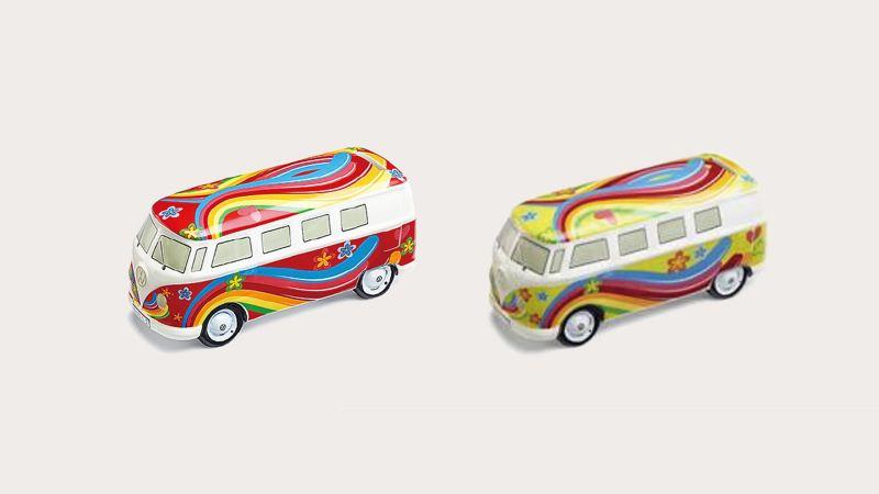 T1造型存錢筒,車外型有不同顏色的嬉皮風格塗裝可選擇