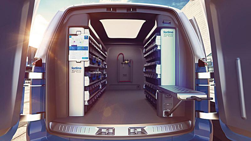I.D. BUZZ Cargo尾門開啟後可見車內左右兩側的收納櫃,同時搭仔數位化物流系統