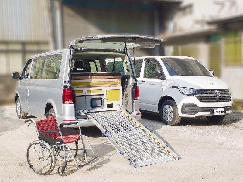T6.1 Caravelle青銀共享車滿足多元化的用車需求,包含符合年輕族群的模組化露營套件,以及無障礙斜坡板,讓您隨時可以準備好外出自由冒險或是載送長輩一同出遊!