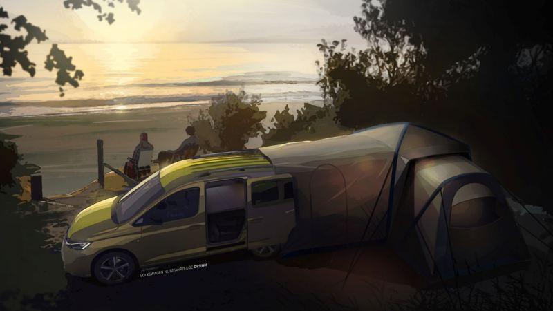 Wizualizacja nowego mini kampera Caddy z namiotem