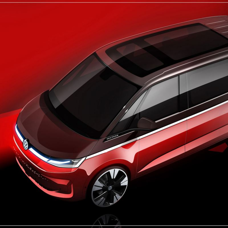 Bildet viser designskisse av den nye Volkswagen T7 Multivan ladbar hybrid 7 seters familiebil