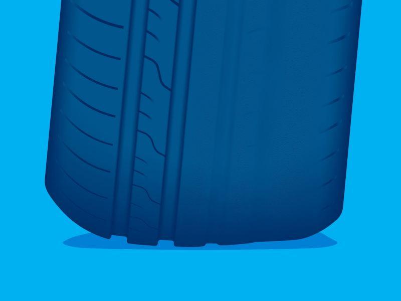 Illustration d'une usure anormale sur un pneu VW