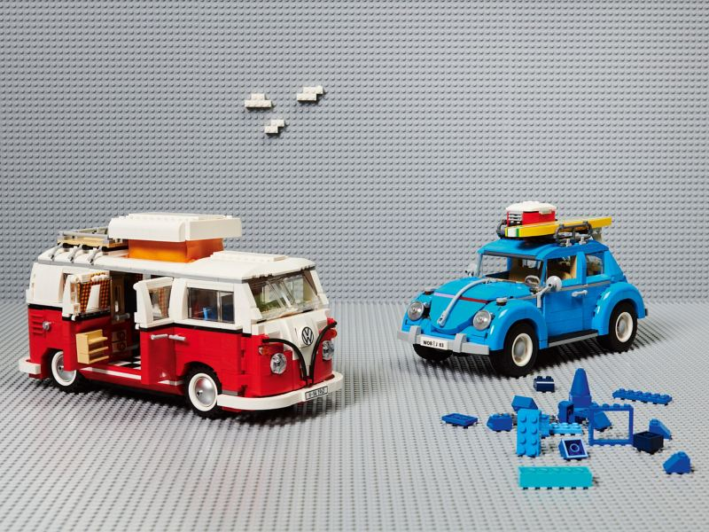 Lego T1 camper van and Lego Beetle from the VW Children's Collection