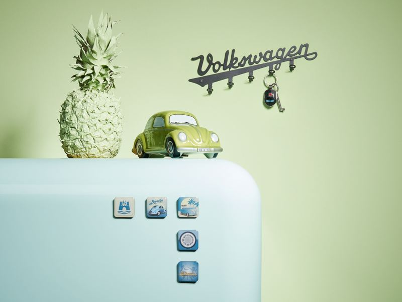 A selection of products from the VW Classic Collection in shades of green