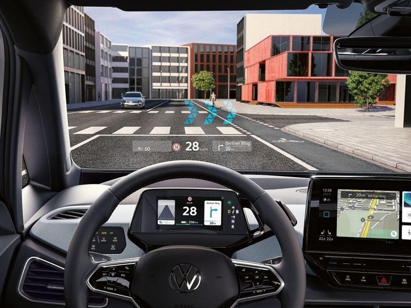 Illustrazione grafica del funzionamento dell'Head Up Display con realtà aumentata di Volkswagen ID.3.