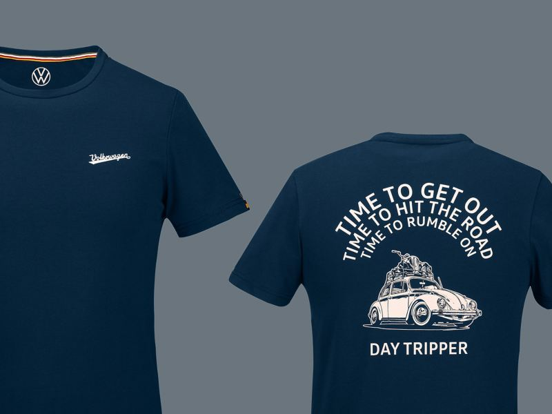T-shirt bleu avec l'inscription « Volkswagen » sur la poitrine – Motif Coccinelle et slogan assorti dans le dos