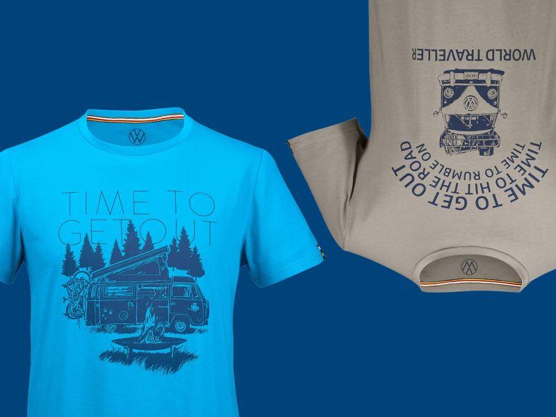 Deux t-shirts en bleu et vert olive avec motif T2 feu de camp et T1 camping-car et slogan VW assorti