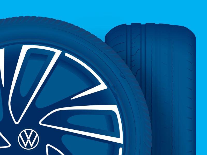 Illustration de dommages subis par un pneu VW
