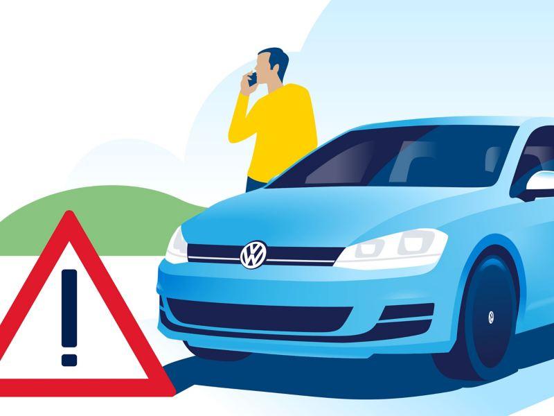 Ilustración de un cliente avisando al servicio de asistencia en viajes de Volkswagen por mensaje de texto. Servicio de emergencia