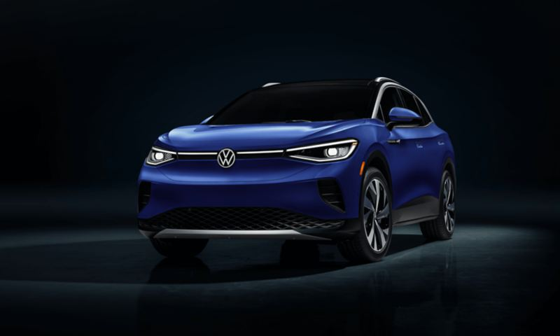 """Volkswagen ID.4 Dusk Blue Metallic – Face View, link out to """"how electric vehicles work"""""""