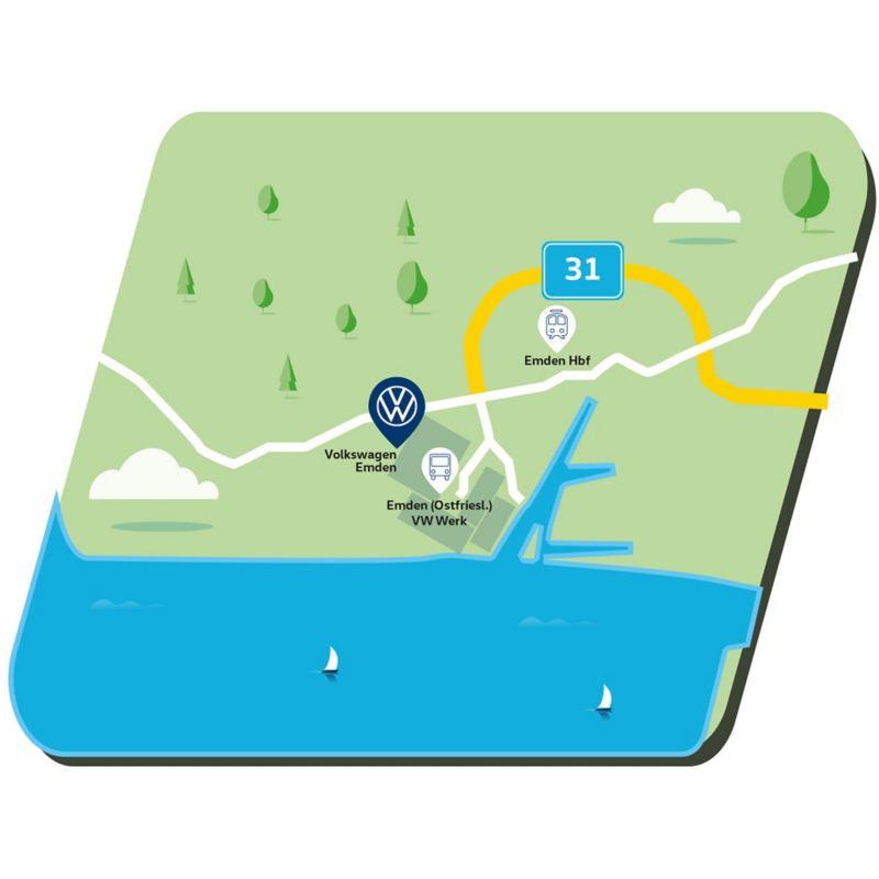Anfahrtskizze zum Standort  Emden