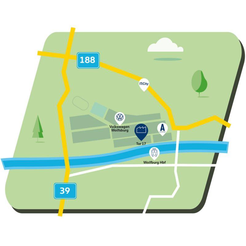 Anfahrtskizze zum Standort Wolfsburg