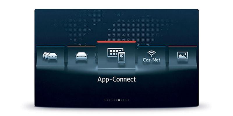 Dettaglio del display con App-Connect Volkswagen, per usare le app compatibili nello smartphone direttamente dal display dell'auto.