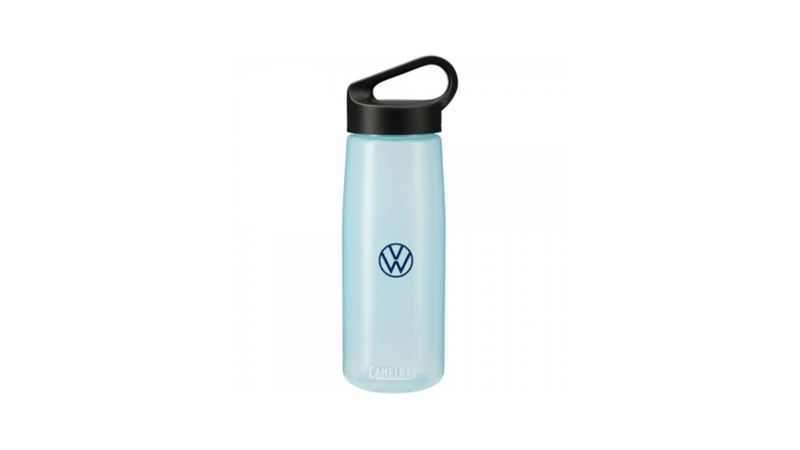 A blue water bottle with the Volkswagen logo