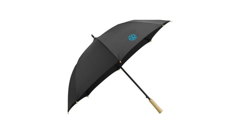 A black umbrella with a blue Volkswagen logo