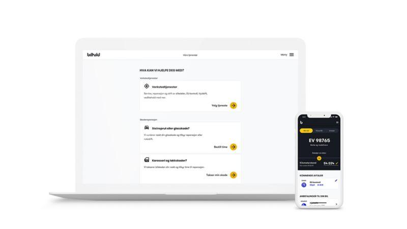 Bilhold digital tjeneste for booking av service på desktop og mobil