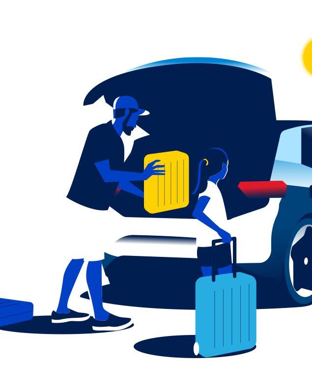 Illustrazione papà carica valigie mentre veicolo elettrico in carica