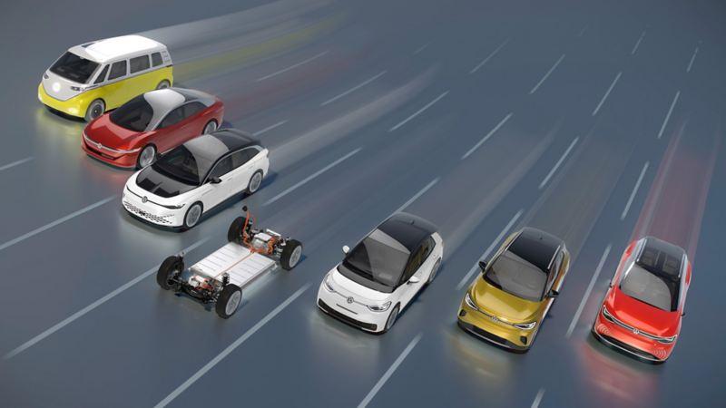 Illustrazione dei prototipi delle auto elettriche della Famiglia Id di Volkswagen