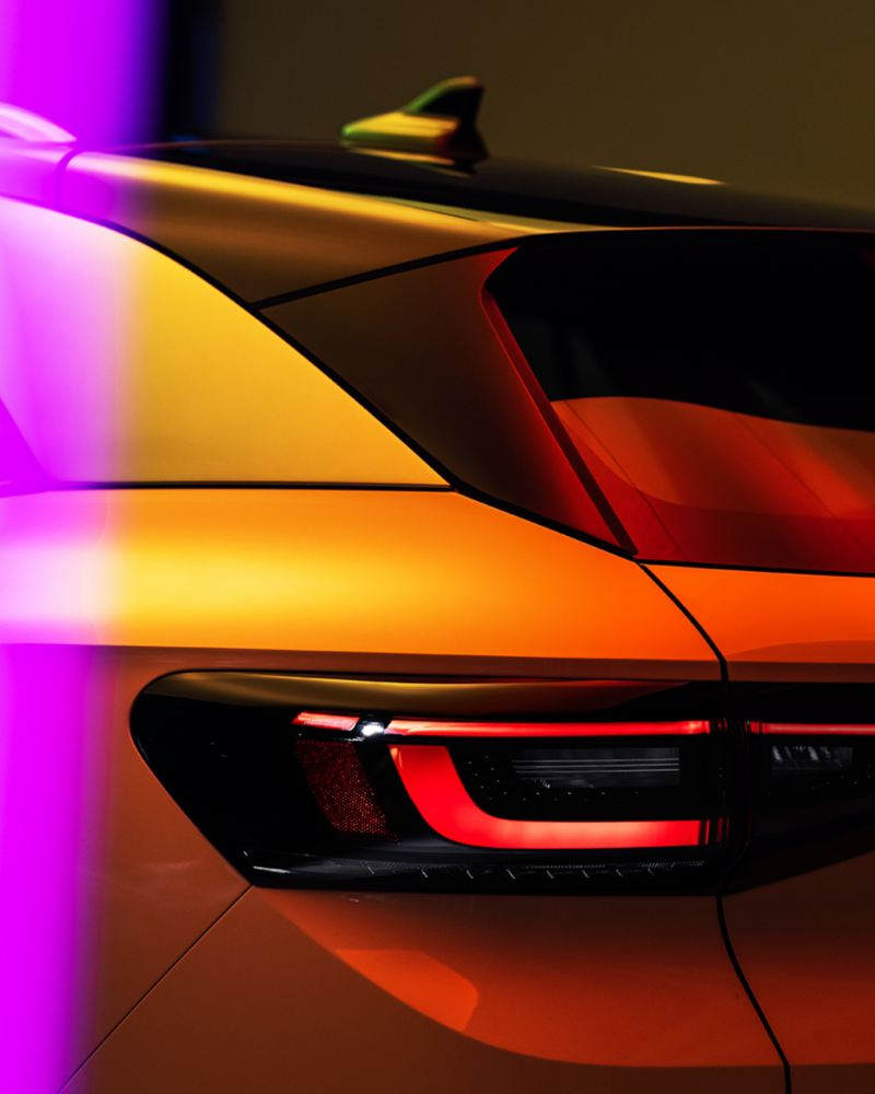 """Volkswagen ID.4 Rear View, link out to """"the future is electric"""" page"""